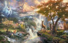 Обои картинки фото bambi's first year, thomas kinkade, painting, walt disney, animated