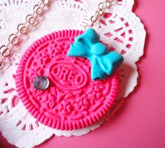Cute Neon Oreo Cookies with Bow Necklace -ONLY PINK ONE-. $12.00, via Etsy.