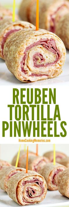 This Reuben Tortilla Pinwheels Recipe is an easy party food. Corned beef, swiss cheese, Sauerkraut and more all rolled up in a tortilla. Patrick's Day or Reuben Sandwich fans! (all recipes beef) Finger Food Appetizers, Appetizers For Party, Appetizer Recipes, Dinner Recipes, Sandwich Recipes, Tortilla Pinwheels, Tortilla Rolls, Pinwheels Food, Tortilla Wraps