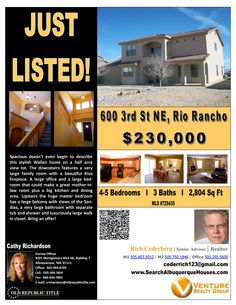 600 3rd st NE Rio Rancho has 5 bedrooms, 3 baths, a 2 car garage is is listed for $220,000.