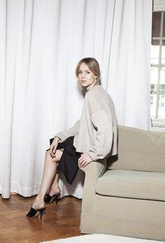 Elin Kling in Céline sweater and mules silk dress by FWSS