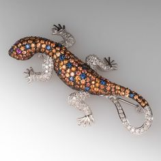 Lizard Pin W/ Diamonds, Sapphires & Rubies