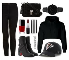 """#Superbowl #OOTD - Go #Falcons!"" by fabglance ❤ liked on Polyvore featuring Topshop, Christian Louboutin, Proenza Schouler, '47 Brand, CLUSE, MAC Cosmetics and Chanel"