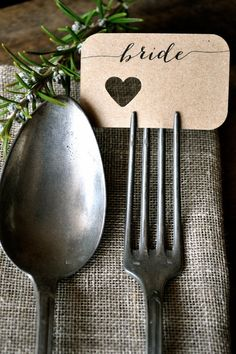 Specifications: X57 Fork Place Cards | Round/Heart | $1.50 ea. X40 Thank you Cards | Round/Square w/ Heart | $2.25 ea. w/ envelope Fonts: As shown Shipping: Regular w/ Tracking My Shop/Facebook: Please be sure to check out the other handmade wedding items in my shop!!