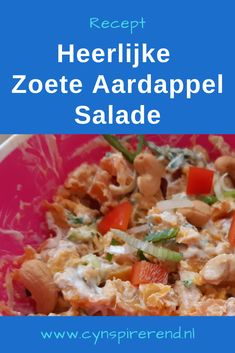 We hadden tijdens de hittegolf zin in een aardappelsalade, maar we hadden alleen nog wat lekkere zoete aardappelen in huis. Dus ging ik met goede moed op zoek naar een lekker recept voor zoete aardappel salade. Wat blijkt? Die receptjes zijn er nog amper. En dus ging ik zelf experimenteren in de keuken. Et voila: dit is mijn recept voor heerlijke zoete aardappel salade! Ideaal als makkelijke maaltijd of als bijgerecht voor de barbecue! #Cynspirerend Grains, Rice, Red Peppers, Seeds, Laughter, Jim Rice, Korn