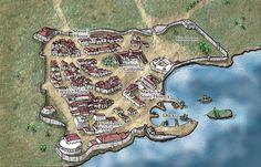 Fantasy Cartography by Sean Macdonald. Coastal city map.