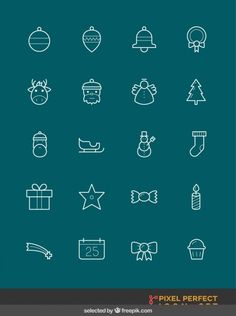 Cute christmas icons collection Free Vector