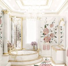 Rose Bath | © Luxury Antonovich Design on We Heart It Dream Bathrooms, Dream Rooms, Beautiful Bathrooms, Luxury Bathrooms, Dream Home Design, Home Interior Design, Home Decoracion, Rose Bath, Luxury Homes Dream Houses