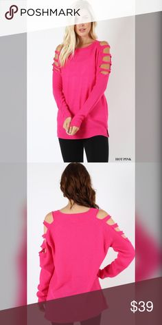 Stunning soft and cozy hot pink ladder sweater! Beautiful cut- slightly oversized fit with ladder detail- soft and cozy Sweaters