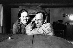 Liv Ullmann and Ingmar Bergman on the set of Hour of the Wolf.