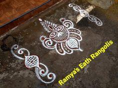 Rangoli Side Designs, Simple Rangoli Border Designs, Easy Rangoli Designs Diwali, Free Hand Rangoli Design, Rangoli Borders, Small Rangoli Design, Colorful Rangoli Designs, Rangoli Patterns, Rangoli Designs Images