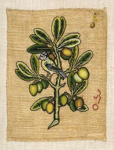 Embroidered slip with finch in an olive tree, made in England, c.1600 (V Museum)