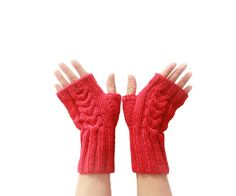 Knit Fingerless Gloves  Winter Mittens  Red Wrist by SENNURSASA, $17 with coupon. Last day today.