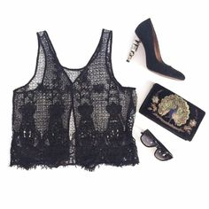 House of Harlow Black Lace Sheer Tank Top Gorgeous top by House of Harlow. Size Small. $150 MSRP. Sheer black lace with intricate details. Split back, tank style. Great for layering with another tank top or a bralette underneath. House of Harlow 1960 Tops Tank Tops