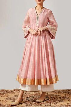 Buy Chanderi Kurta with Pants by Myoho at Aza Fashions - Modern Pakistani Fashion Casual, Pakistani Dresses Casual, Indian Fashion Dresses, Indian Designer Outfits, Indian Outfits, Designer Dresses, Fashion Outfits, Fashion Styles, Trendy Outfits