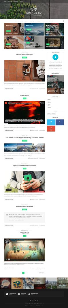 Holomatic is a minimalist, modern and elegant #WordPress blog theme focusing the reader's attention to the content. #blogging #blogger Download Now!
