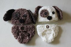 Baby Puppy Hat and Diaper Cover Set crocheted in choice of 2 color…