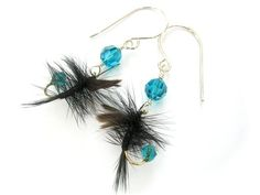Teal and Black Fishing Lure Earrings Upcycled Fly Fishing Feather Earrings Fish Hook Earrings, Feather Earrings, Women's Earrings, Homemade Fishing Lures, Fly Fishing Lures, Fishing Tackle, Vintage Jewelry Crafts, Handmade Jewelry, Diy Jewelry