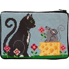Item# Cat & Mouse Stitch & Zip needlepoint kit on 14 mesh cotton canvas. Needlepoint Belts, Needlepoint Stockings, Needlepoint Pillows, Needlepoint Designs, Needlepoint Canvases, Needlepoint Christmas Stocking Kits, Cat Mouse, Plastic Canvas Crafts, Arts And Crafts Supplies