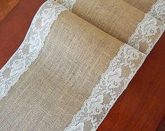 Burlap table runner wedding table runner with nude ivory lace rustic chic table decor