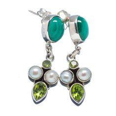 """Malachite, Peridot, Cultured Pearl 925 Sterling Silver Earrings 1 1/2"""" EARR316508"""