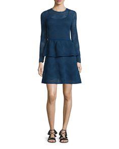 Solid Zigzag Long-Sleeve Peplum Dress, Women's, Size: 42, Black - M Missoni