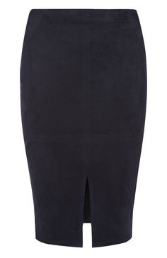 Black Suede Seamed Pencil Skirt