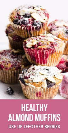 Healthy Snacks Easy and healthy Almond Muffins Recipe with ground almonds, whole wheat flour and fresh of frozen blueberry or cherry. They are gone in 1 day every time I bake them. Cherry Recipes Healthy, Cherry Desserts, Almond Recipes, Nut Recipes, Blueberry Recipes, Flour Recipes, Cherry Muffins, Almond Muffins, Muffin Recipes