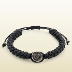 Gucci Woven Leather Crest Bracelet