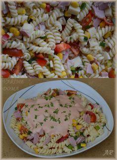 Těstovinový salát se zálivkou Pasta Salad, Healthy Snacks, Salads, Rice, Yummy Food, Lunch, Baking, Ethnic Recipes, Nova