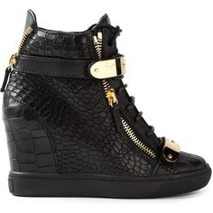 Giuseppe Zanotti Design Concealed Wedge Heel Hi-Top Sneakers ($573) ❤ liked on Polyvore featuring shoes, sneakers, giuseppe zanotti, heels, wedges, black, black wedge shoes, black leather sneakers, wedge heel sneakers and high top wedge sneakers