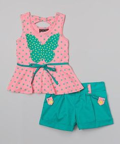 Another great find on Coral Butterfly Peplum Tank & Teal Shorts - Toddler & Girls Little Girl Outfits, Cute Outfits For Kids, Toddler Outfits, Toddler Girls, Baby Girl Fashion, Toddler Fashion, Kids Fashion, Baby Girl Party Dresses, Baby Dress