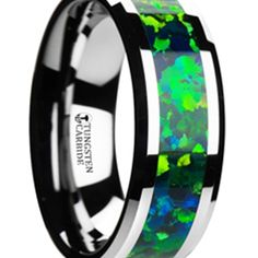 Tungsten Wedding Band with Beveled Edges and Emerald Green & Sapphire Blue Color Opal Inlay - 8 mm