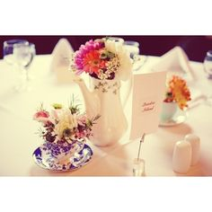 Teapot, Teacup Wedding Flowers and Centerpieces | Bridal Banter Blog found on Polyvore