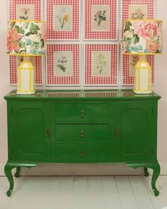 Pink and green decor; botanical prints on a gingham wall with vintage floral shades, colourful lamps and a fresh green chest of drawers