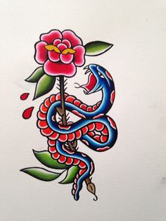 Traditional snake and rose outline