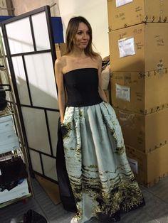Natascia Montoleone in Alberta Ferretti. Chosing a perfect party dress...