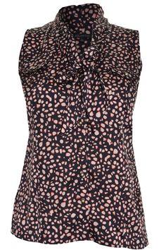 Anne Klein Sleeveless Blouse XL Button Front Top Tie Neck Collar Pockets NEW #AnneKlein #Blouse #Career