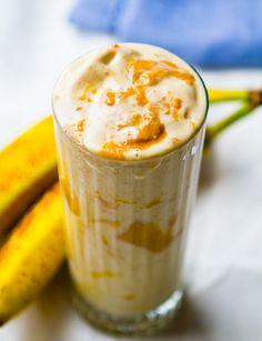 Peanut butter swirled banana shake
