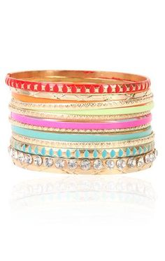 Deb Shops bright multi color #bangles set