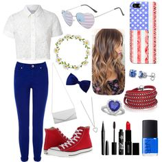 Happy Fourth Of July  by leilani14 on Polyvore featuring polyvore fashion style Glamorous Oasis Converse Akira Yves Saint Laurent Sif Jakobs Jewellery BERRICLE Sterling Essentials claire's Casetify Carole Marc Rouge Bunny Rouge Lord & Berry NARS Cosmetics