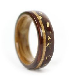 Rosewood Ring with Live Oak Liner, Koa Inlay & Gold Leaf Flakes