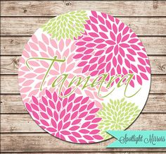 Custom Bridesmaid Gift - Personalized Compact or Pocket Mirror - Perfect Poms In Pink and Green on Etsy, $4.99
