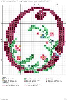 Alfabeto rosa antico con rametto di fiori: O