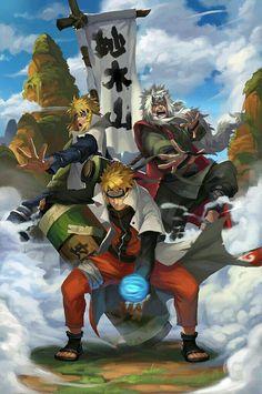Jiraya, Minato e Naruto Naruto Shippuden Anime, Naruto Art, Naruto Vs Sasuke, Anime Comics, Naruto Minato, Anime, Anime Characters, Naruto Shippudden, Naruto Pictures