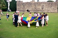 Games on the green with the ruins in the background... Wedding at The Kings, Christchurch  Peppermint Love Photography