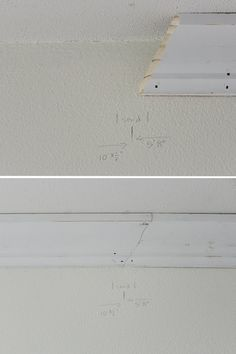 How-to install Crown Molding easily and without error using corner angle templates (with tips on scarf joints +proper way to 'cut in' when painting) Cut Crown Molding, Moulding, Installing Wainscoting, Baseboard Styles, Recessed Medicine Cabinet, Finish Carpentry, Plank Walls, Moldings And Trim, Baseboards