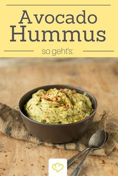Avocado hummus - Avocado and chickpea hummus – looks great, tastes good and can be enjoyed without a guilty consci - Avocado Hummus, Vegetarian Breakfast Recipes, Vegetarian Appetizers, Appetizer Recipes, Healthy Diet Recipes, Veggie Recipes, Hummus Recipe, Hummus Food, Chickpea Hummus