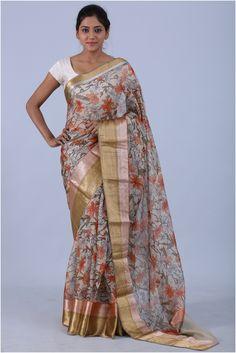 Buy Offwhite Color Silk Kota Saree With Double Big Kanchi Border