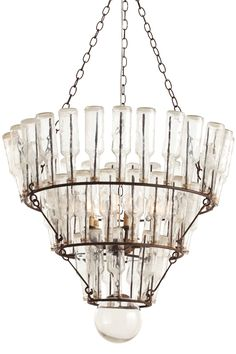 Get the on-trend, French Industrial look with the Stedman Iron Glass Bottle Chandelier with 52 vintage bottles by Arteriors Home. #westernliving